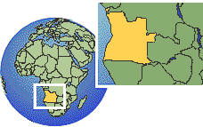 Angola as a marked location on the globe