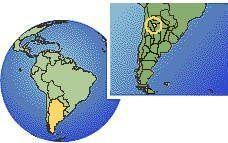 Tucumán, Argentina time zone location map borders