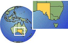 South Australia, Australia  time zone location map borders
