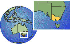 Port Phillip Bay, Victoria, Australia  time zone location map borders