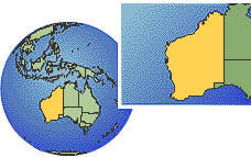 Western Australia, Australia  time zone location map borders