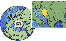 Bosnia and Herzegovina as a marked location on the globe