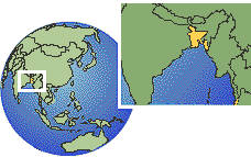 Bangladesh time zone location map borders