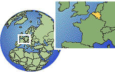 Antwerp, Belgium time zone location map borders