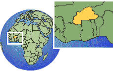 Burkina Faso time zone location map borders