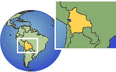 Bolivia, Plurinational State of time zone location map borders