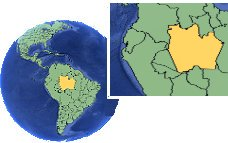 Amazonas, Brazil time zone location map borders