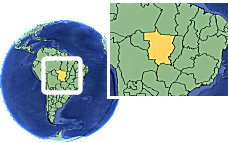Mato Grosso, Brazil as a marked location on the globe