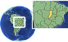 Mato Grosso (Araguaia region), Brazil time zone location map borders