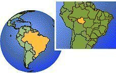 Rondonia, Brazil as a marked location on the globe