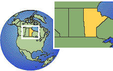 Manitoba, Canada  time zone location map borders