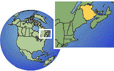fredericton, New Brunswick, Canada time zone location map borders