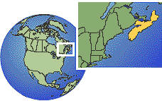 Halifax, Nova Scotia, Canada  time zone location map borders