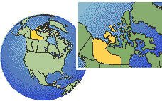 Yellowknife, Northwest Territories, Canada time zone location map borders