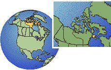 Nunavut - Southampton Island, Canada as a marked location on the globe