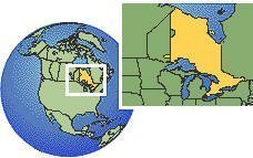 Thunder Bay, Ontario, Canada time zone location map borders