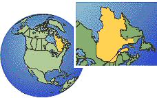 Quebec, Canada  time zone location map borders