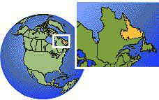 Happy Valley-Goose Bay, Labrador, Canada time zone location map borders