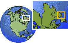Labrador (exception), Canada  time zone location map borders
