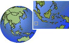 Cocos (Keeling) Islands time zone location map borders