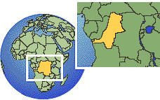 (Western), Congo, Democratic Republic of time zone location map borders