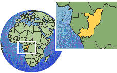 Brazzaville, Congo time zone location map borders