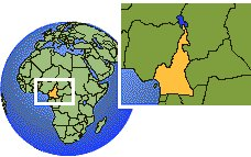 Cameroon time zone location map borders