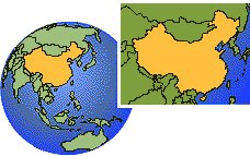 Tianjin, China time zone location map borders