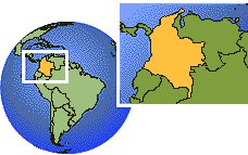 Armenia, Colombia time zone location map borders
