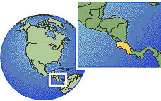 Nicoya, Costa Rica  time zone location map borders