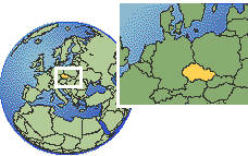 Prague, Czech Republic time zone location map borders