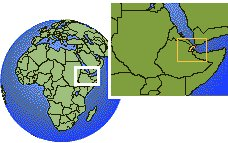 Djibouti  time zone location map borders