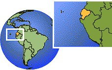 Quito, Ecuador time zone location map borders