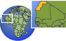 Western Sahara time zone location map borders