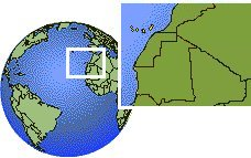 Canary Islands, Spain time zone location map borders