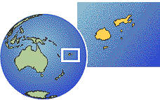 Suva, Fiji time zone location map borders