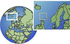 Faroe Islands time zone location map borders