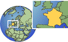 Le Havre, France time zone location map borders