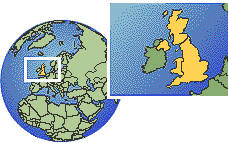 Cardiff, United Kingdom time zone location map borders