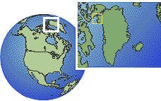 Pituffik, Greenland time zone location map borders