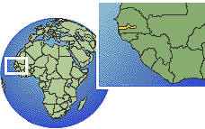 Banjul, Gambia time zone location map borders