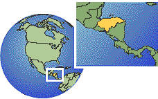 Honduras  time zone location map borders