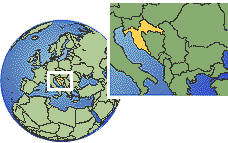 Zagreb, Croatia time zone location map borders