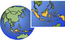 (Western), Indonesia  time zone location map borders