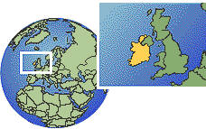Dublin, Ireland  time zone location map borders
