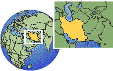 Tehran, Iran, Islamic Republic of time zone location map borders