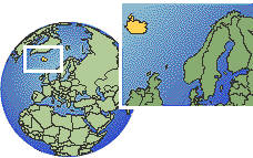 Reykjavik, Iceland time zone location map borders
