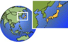 Yokohama, Japan time zone location map borders