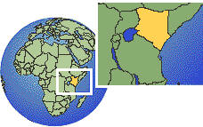 Nairobi, Kenya time zone location map borders