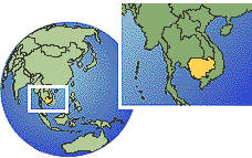 Cambodia time zone location map borders